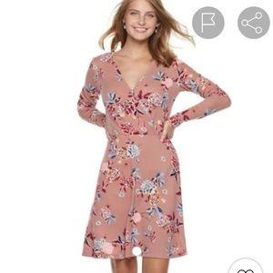 Candie's Wrap Print Knit Dress